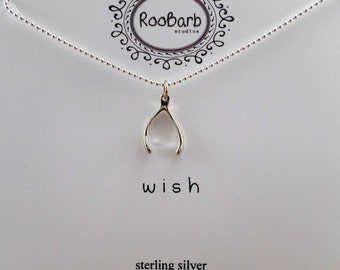 Wish Bone Charm Necklace - Sterling Silver
