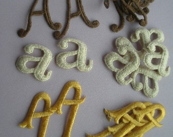 70s Letter 'A' Patches, 3 colors, set of 7 each, embroidered monogram initial appliques, sewing supplies, mixed media, Greece
