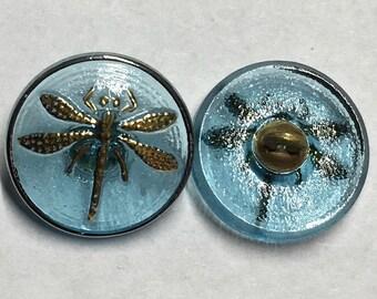 Aqua Light Blue Transparent Dragonfly Czech Glass Button with Gold Detail with Metal Shank 18mm