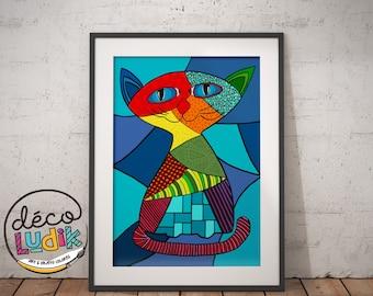 cat print, cat illustration, 3d, art prints, patchwork, 8.5X11, gift for cat lover