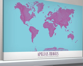 Personalised classic world map pinboard gift vintage pop art personalised world map colourful gift gift for him gift for her world map free shipping home decor living roompush pin map gumiabroncs Image collections