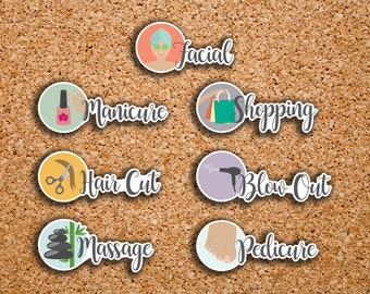 21 Treat Yourself Stickers | Facial, Manicure, Pedicure, Shopping, Hair Cut, Blowout, Massage | Stickers for 2017 Inkwell Press IWP-DC77