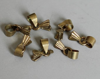 50pcs Raw Brass Bail For Pendant Findings 8mm x 5mm- F97
