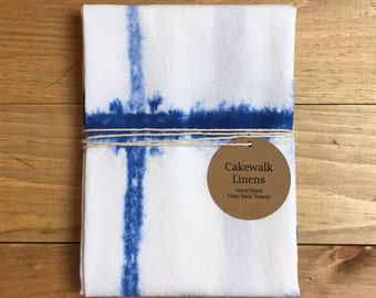 Shibori Kitchen Towel, Indigo Tea Towel, Tie Dyed Tea Towel, Flour Sack Towel, Shibori Block Design, S3