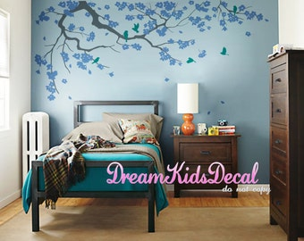 Wall Decal Cherry Blossom branch vinyl wall decals,Wall sticker,Nursery girl baby wall decals-Flower Tree with Violet flying birds-DK121