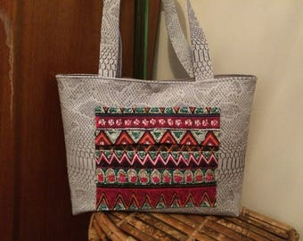 Handbag in grey faux leather, handmade fabric reptile grey bag hand bag gray patterns red and multicolor