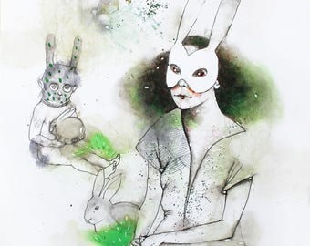 Watercolor painting of a woman with a boy in rabbit masks. Abstract watercolor portrait. Watercolor rabbit illustration. Woman watercolor