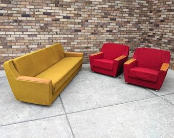mid century modern 1960s sofa set, west germany