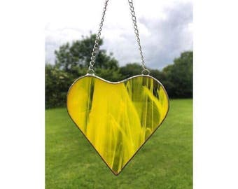 Stained Glass Yellow Heart Suncatcher Decoration