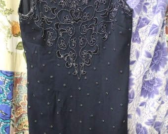 Navy beaded coctail dress REF496