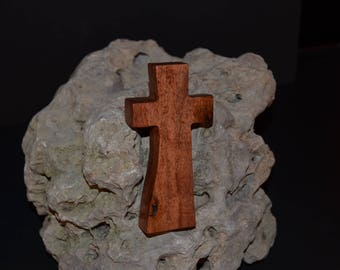 "Wooden Wall Cross; 2.5""x5""x1""; Small Wood Cross; Wall Cross Decor; Crooked Cross; Mesquite; Handmade;  Free Ground Shipping cc5-5030118"