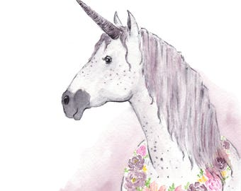 Unicorn print - Unicorn watercolor - unicorn art - unicorn decor - DIGITAL DOWNLOAD