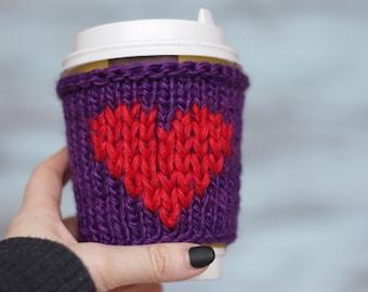 Tea Cozy Cup Cozy Crochet mug cozy Crochet cozy gift Coffee cup sleeve Eco friendly crochet gift heart Crochet cup cozy Coffee mug warmer