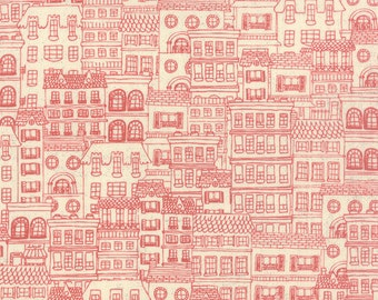 City Houses Fabric, Mon Ami 30416 11, Moda Basic Grey, Chez Moi Creme Rouge, Red City Fabric,Row Houses, Red and Cream Quilt Fabric, Cotton