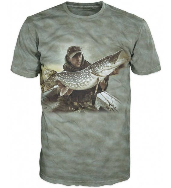 Cool 3D Sublimation Printed Pike Luce Fishing Mens T-shirt qme42m
