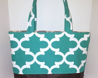 Large Tote bag, faux leather tote, diaper bag tote, turquoise quatrefoil with grey squares lining with six slip pockets