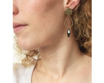 NIONA ▷ dangle Stud Earrings, geometric ring sunbathes and drop white!