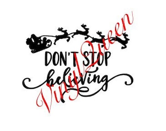 Don't Stop Believing Christmas Vinyl Decal Frame Gift Quote Festive Shadow Box Frame