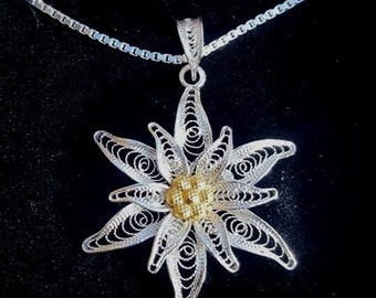 Edelweiss - silver filigree pendant with 23 inches/60 cm chain