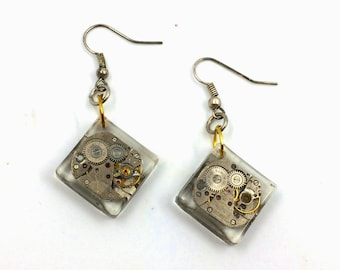 Resin Earrings and clock movement