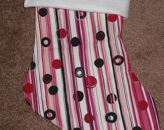 Pink Striped  and white felt Christmas Stocking