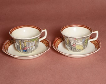 """Set of 2 cup and saucer by Adams featuring scenes from """"The Pickwick Papers"""""""