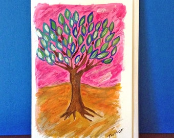 Tree of Life Card, Hand Painted Card, Tree Art, Tree of Life Painting, Jewish gifts, Jewish Cards, Handmade Card, Original Painting, Pink