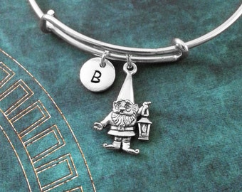 Gnome Bangle Silver Gnome Bracelet Lawn Gnome Gift Gnome Jewelry Stackable Bangle Gnome Charm Bracelet Expandable Bangle Personalized Bangle