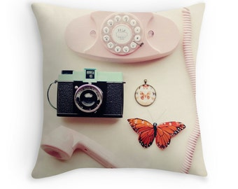 Throw Pillow Case : You Are Lovely Vintage Princess Phone Diana Camera Butterfly Bow Girly Things Nursery Pastel