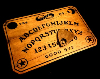 Distressed Wooden Ouija Board Set with Planchette, Handmade Vintage William Fuld Style Spirit Talking Board - As Seen in GHOST TEAM!