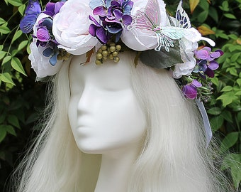 White and Purple Flower Crown, Butterfly, Purple, Flower Crown, Floral Crown, Headpiece, Fairy, Renaissance, Costume