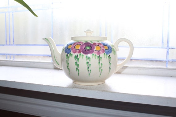 Vintage English Teapot with Hand Painted Flowers
