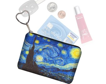 Starry Night  Small Zipper Pouch Coin Purse Keychain Key Fob Business Card Holder Purse Organizer Van Gogh blue yellow black fabric  RTS