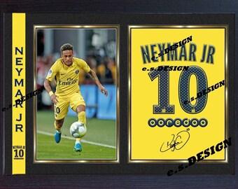 Neymar JR Paris Saint Germain signed autograph Football photo print Framed #002
