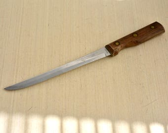 "Vintage,Tramontina, INOX, 12.5""  ,Stainless ,Fillet  Knife ,7.5"" Blade ,Wood Handle ,Made in Brasil"