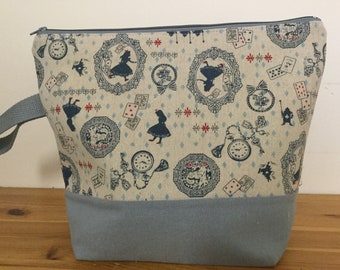 Linen fabric, Alice in Wonderland, Large Zippered Knitting Project Bag