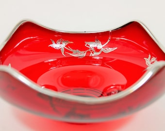 Ruby Red Glass Bowl with Silver Overlay Art Nouveau Flanders Pattern, 1920s Vintage