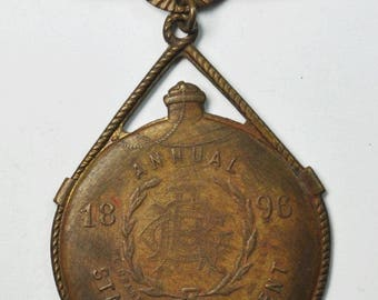 1896 Souvenir Badge Annual Encampment We Drank From the Same Canteen Civil War