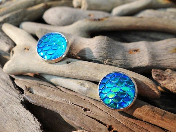 Aqua Turquoise Teal Mermaid Tail Scale Scales Dragon Dragons Iridescent Studs Stud Earring Earrings