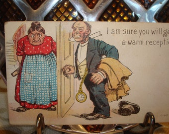 """Vintage """"I am sure you will get a warm reception"""" Sarcastic Postcard - Postmarked Circa 1912 - Excellent Condition!!"""