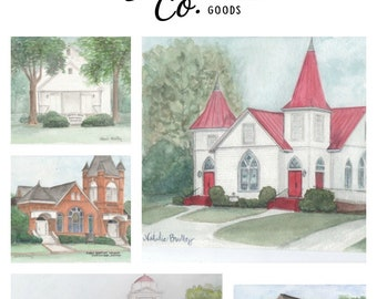 Venue Watercolor Painting, Unique Wedding Gift, Custom Church Illustration, Synagogue Temple Watercolor Painting, Wedding Venue Painting