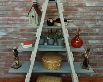 farmhouse style ladder shelf, rustic furniture, shabby chic bookshelf, painted furniture, farmhouse style furniture, primitive furniture