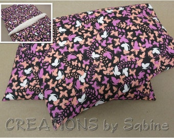 Corn Heating Pack Heat Wrap Microwaveable with Washable Cover Hot Cold Pack Pink Peach White Black Mini Butterflies READY TO SHIP (536)