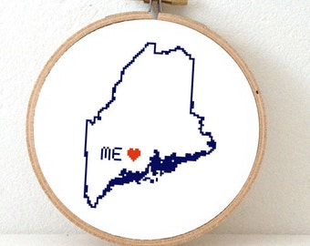 MAINE Map Cross Stitch Pattern. Maine art pattern with Augusta. Maine ornament pattern. ME decor. Wedding gift. Maine state