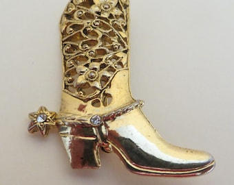 Vintage Cowboy boot Cowgirl Boot gold tone brooch, pin with rhinestones