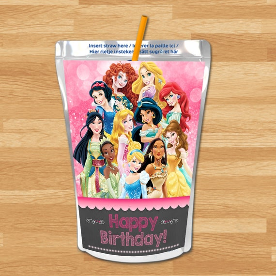 Disney Princess Capri Sun Labels - Chalkboard - Disney Princess Drink Label - Princess Capri Sun Label - Princess Printable - Princess Party