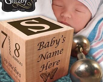 Baby Block, Baby Keepsake Block, Personalized Baby Gifts, Wooden Baby Block, Shower Gift, Newborn Baby Gifts, Laser Engraved Block