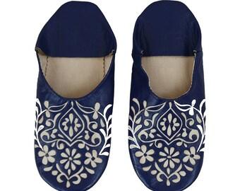 Babouche dark blue Floral pattern slippers