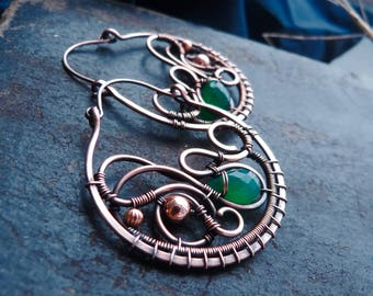 Large circle earrings with green onyx - wire wrapped jewelry -  Boho jewelry for women - gift idea