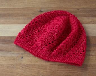 Kufi Hat - Crochet - Skull Cap - Boho - Lace - Red